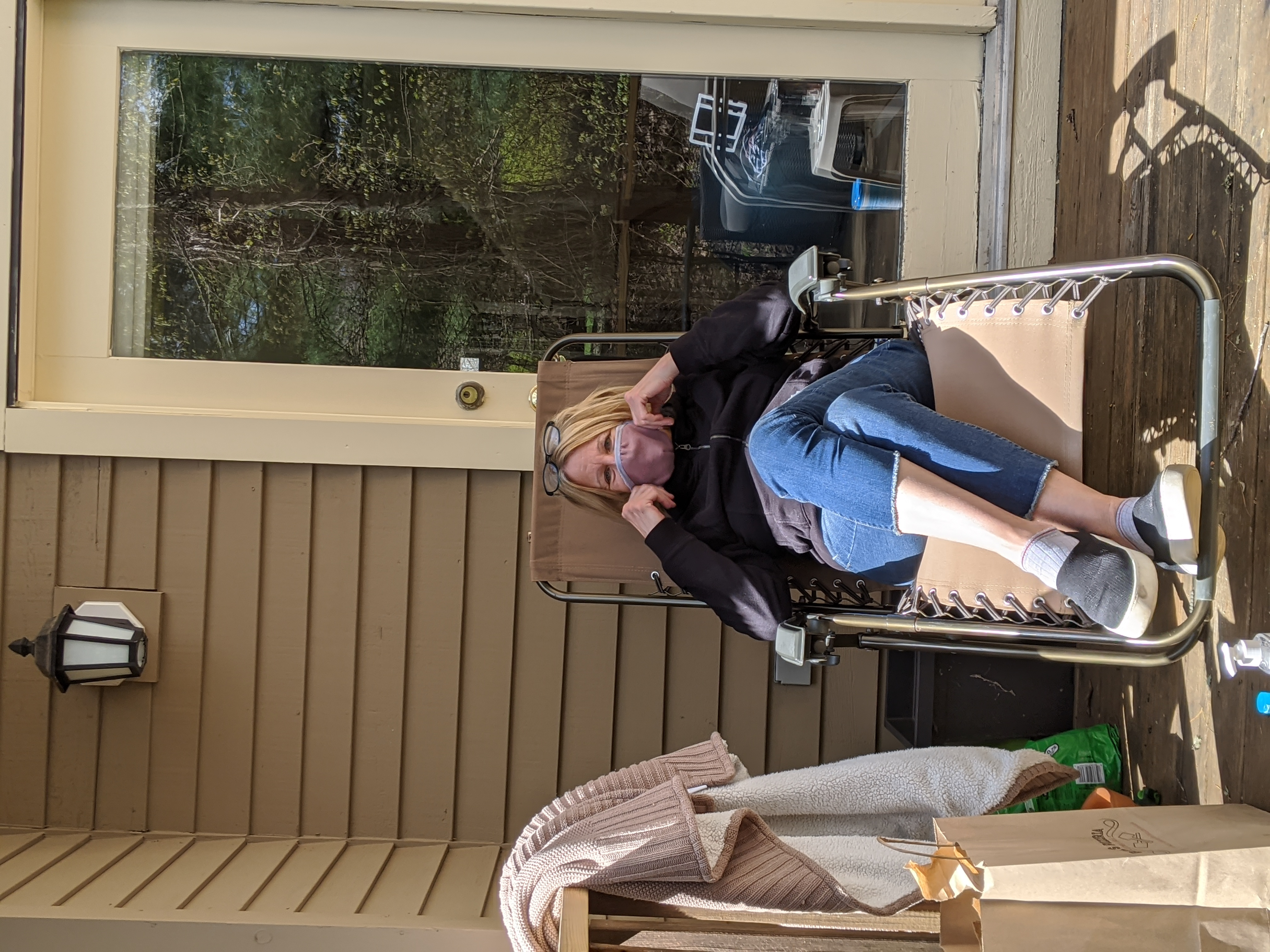 My mom on her deck on Mother's day